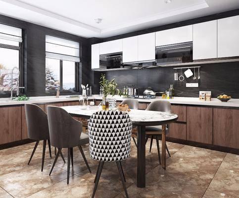 现代厨房, 厨房, 餐桌椅, 橱柜