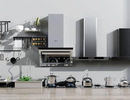 燃气灶, 水盆, 厨房, 用品组合