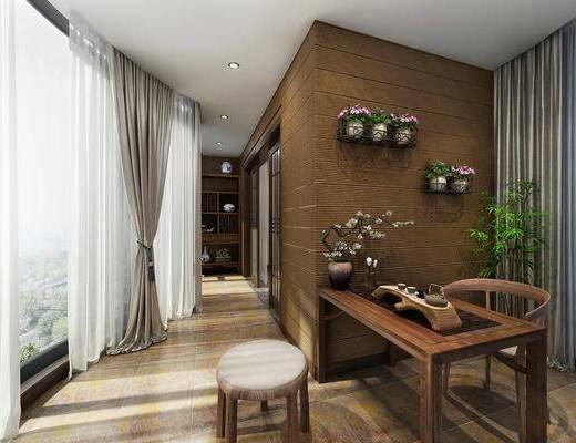 阳台, 桌子, 单人椅, 茶桌, 凳子, 墙饰, 盆栽, 装饰柜, 新中式