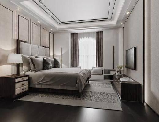 现代, 卧室, 床具, 双人床, 床头柜, 台灯, 背景墙, 软包, 电视柜, 单椅, 装饰品, 摆件, 飘窗