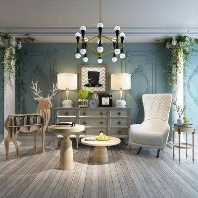 家具组合, 沙发椅, 茶几, 绿植, 边柜, 书架, 田园风