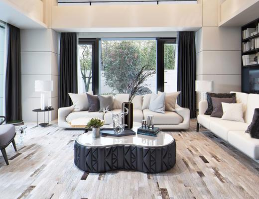 现代简约, 客厅, 沙发茶几组合, 书架, 置物架