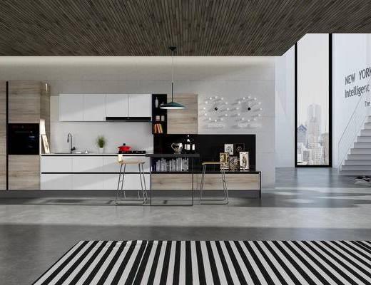 现代厨房, 厨具, 橱柜, 餐桌椅, 电器, 现代, 厨房