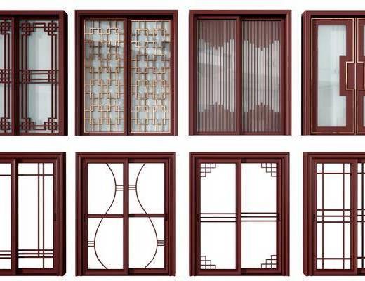 推拉门, 门组合, 厨房门, 新中式