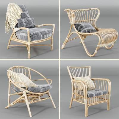 藤椅组合, 单人椅, 现代