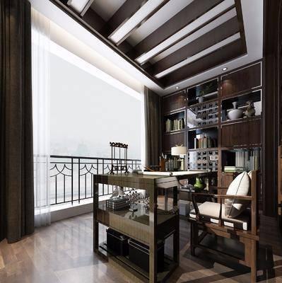 书房, 书桌, 单人椅, 装饰柜, 摆件, 装饰品, 陈设品, 台灯, 新中式