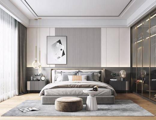 双人床, 装饰画, 衣柜, 床头柜, 吊灯