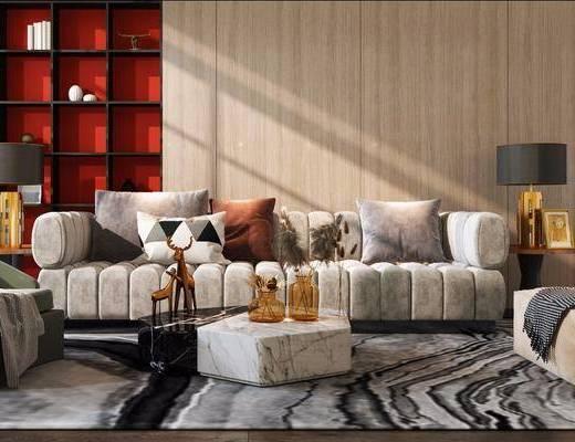 沙发组合, 茶几组合, 抱枕, 边几, 台灯, 茶几, 摆件组合
