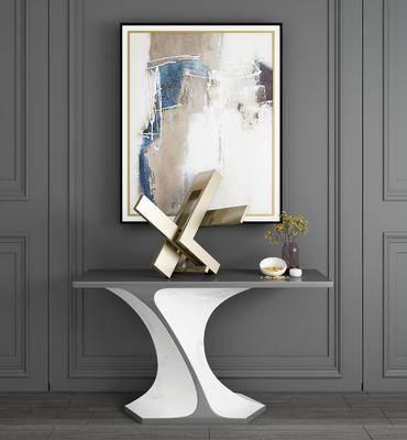 玄关柜, 边柜, 端景条案, 装饰画, 挂画, 案几, 摆件, 装饰品, 陈设品, 现代