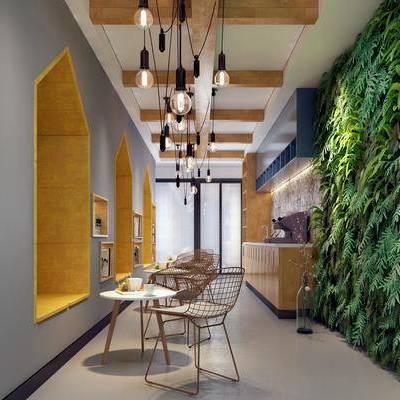 茶水间, 桌子, 单人椅, 吊灯组合, 植物墙, 休闲椅, 现代