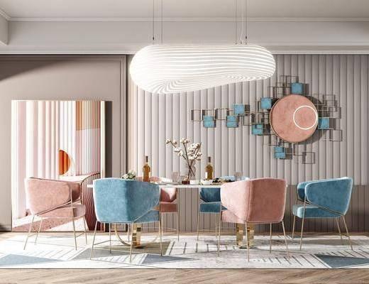 现代餐厅, 现代餐桌, 餐椅, 墙饰, 摆件