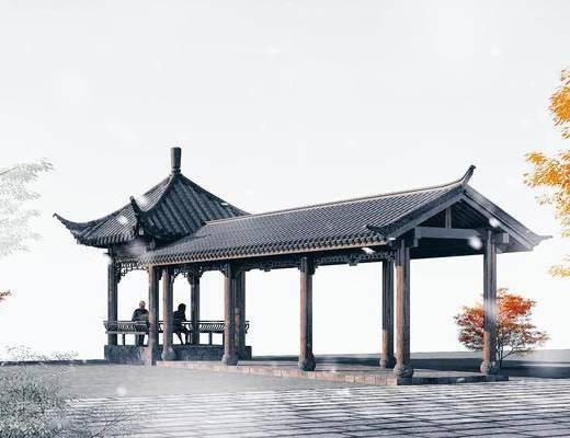 园林景观小品, 凉亭, 古建筑, 木结构休闲长廊