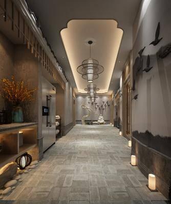 冰箱, 走廊过道, 墙饰, 花瓶花卉, 吊灯组合, 佛像, 中式