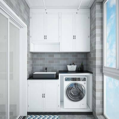 阳台露台, 阳光房, 洗衣房, 洗衣机组合, 洗手台组合, 现代