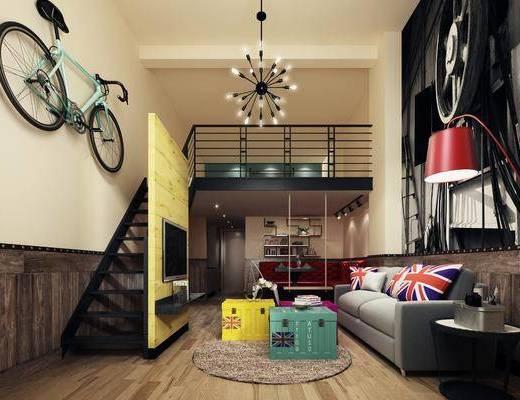 公寓, 客厅, 多人沙发, 茶几, 边几, 落地灯, 装饰画, 卡座, 置物架, 墙饰, 自行车, 吊灯, 摆件, 装饰品, 陈设品, 工业风