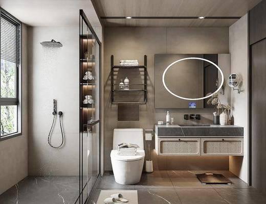 现代, 卫生间, 浴室, 家装