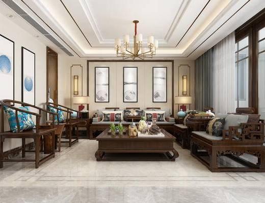 客厅, 中式客厅, 中式沙发, 茶几, 中式挂画, 装饰画, 吊灯
