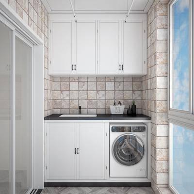阳台露台, 洗手台组合, 洗衣房, 现代