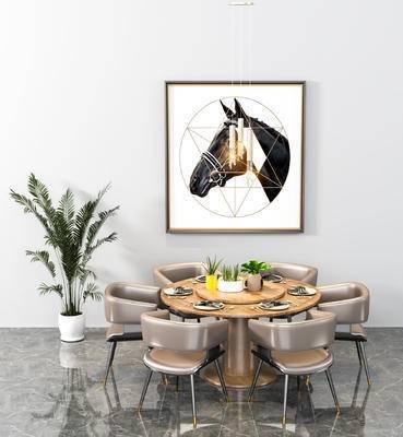 餐桌椅, 单椅, 盆栽, 装饰画, 吊灯, 桌椅组合