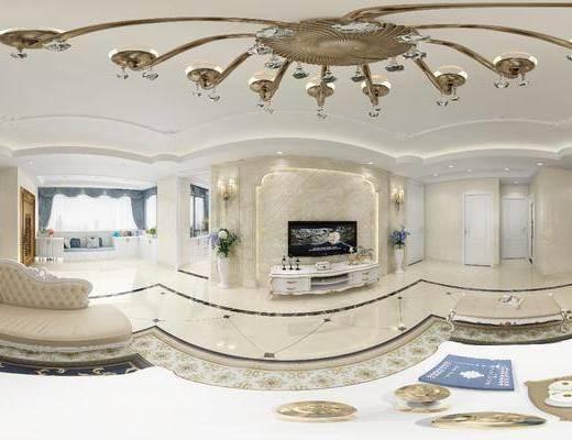 簡歐客廳, 客廳, 沙發組合, 餐廳, 餐桌椅