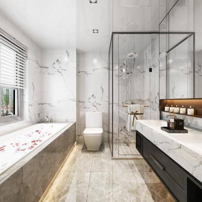 现代卫生间, 现代卫浴, 浴缸, 洗手台, 镜子, 马桶