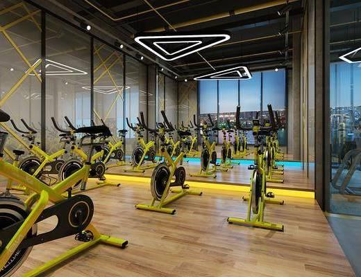 健身房, 装饰画, 多人沙发, 茶几, 挂画, 书桌, 单人椅, 健身器材, 前台, 盆栽, 绿植植物, 吊灯, 工业风