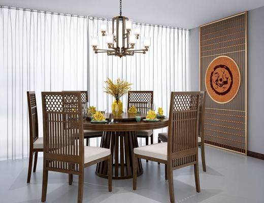 桌椅组合, 餐桌椅组合, 吊灯, 圆桌, 餐具, 新中式餐桌椅组合, 花瓶, 花卉, 新中式