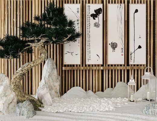 景观小品, 园艺小品, 树木, 石头, 装饰画, 挂画, 中式