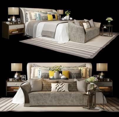 后现代, 床具, 双人床, 沙发, 床头柜, 台灯, 圆几, 茶几, 摆件, 花瓶, 装饰品, 陈设品, 相架