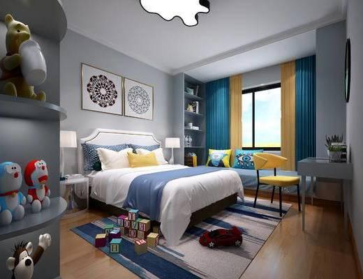 现代卧室, 儿童房, 男孩房, 儿童卧室, 床, 床头柜