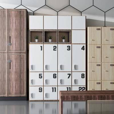 现代储物柜组合, 现代, 储物柜, 装饰柜, 植物, 凳子