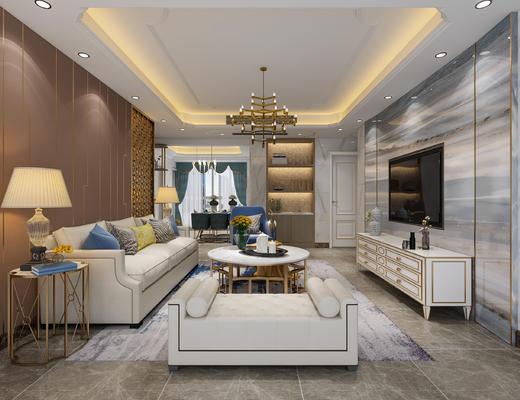沙发, 现代客厅, 现代沙发, 沙发组合, 沙发茶几组合, 吊灯
