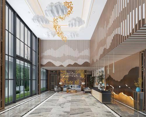 大堂, 新中式酒店大堂, 前台, 接待, 吊灯, 新中式