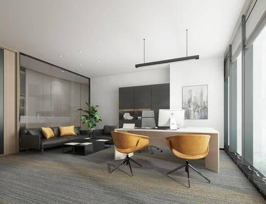 办公室, 书桌, 单人椅, 休闲椅, 多人沙发, 茶几, 双人沙发, 绿植, 单人沙发, 装饰画, 挂画, 吊灯, 办公椅, 现代