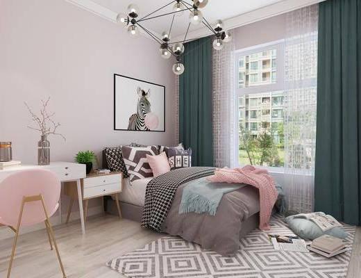 单人床, 吊灯, 装饰画, 桌椅组合, 地毯