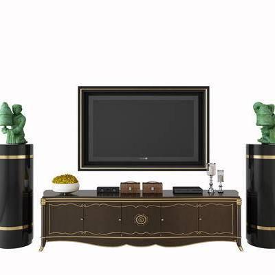 电视柜, 摆件, 电视, 边柜, 雕像, 装饰品, 现代