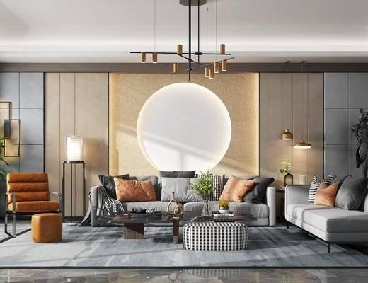 现代沙发组合, 沙发茶几, 现代吊灯, 现代盆栽, 现代椅子, 现代落地灯, 现代雕塑