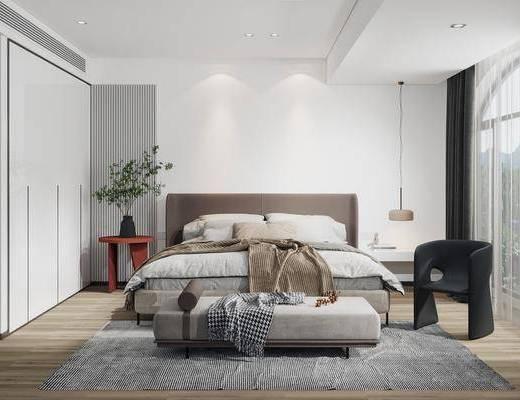 现代卧室, 双人床, 床头柜, 吊灯