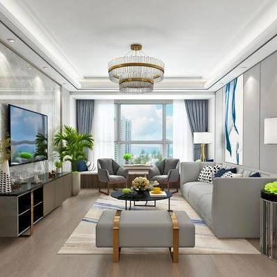 现代客餐厅模型, 现代, 现代客厅, 现代餐厅, 现代吊灯, 植物, 花瓶, 餐桌椅, 玄关柜