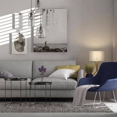 现代沙发茶几组合, 现代, 沙发, 茶几, 椅子, 装饰画