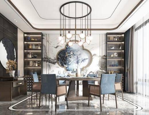 餐桌, 餐椅, 吊灯, 挂画, 餐具, 装饰品, 边柜, 餐柜
