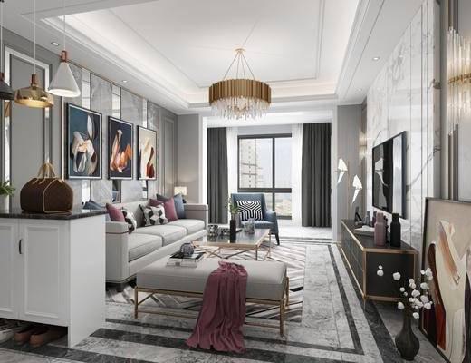 后现代客厅, 后现代餐厅, 沙发茶几, 吊灯, 鞋柜, 置物柜, 餐桌, 椅子, 装饰柜, 边柜, 挂画, 冰箱, 电视柜, 壁灯
