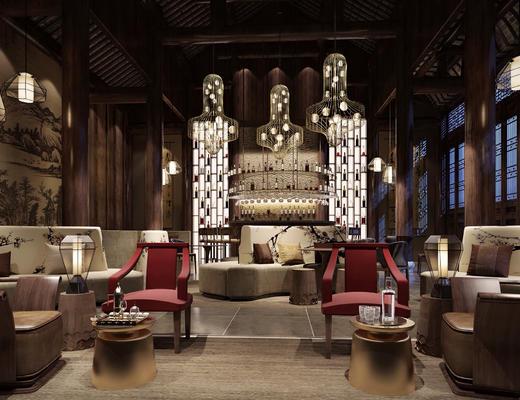 中式, 餐厅, 饭店, 灯具, 休闲椅