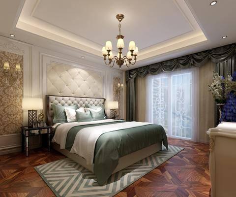 卧室, 双人床, 床头柜, 台灯, 壁灯, 吊灯, 电视柜, 花卉, 欧式