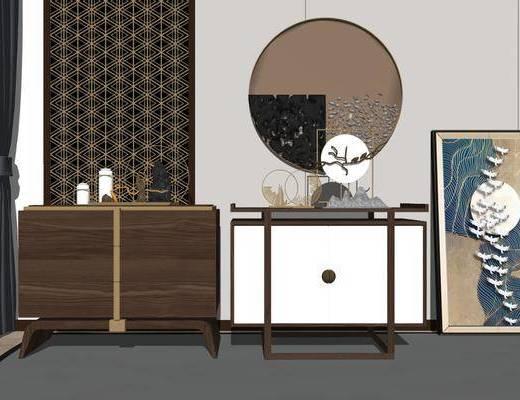 端景台, 柜架组合, 摆件组合, 装饰品, 装饰画