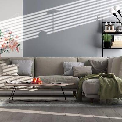 多人沙发, 转角沙发, 布艺沙发, 茶几, 摆件, 挂画, 装饰品, 现代