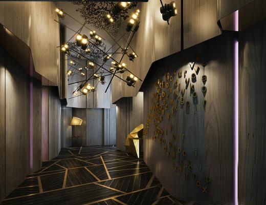走廊, 过道, 吊灯, 墙饰, 灯饰