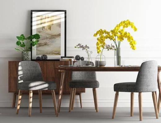 餐桌, 餐椅, 单人椅, 装饰柜, 边柜, 装饰画, 挂画, 摆件, 装饰品, 陈设品, 北欧