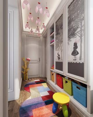 儿童房, 衣柜, 现代卧室