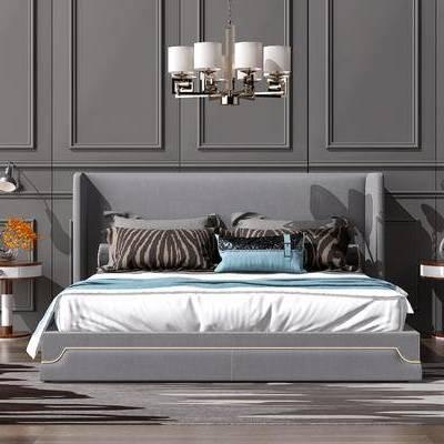 简欧, 现代, 双人床, 床具, 床头柜, 吊灯, 台灯, 案几, 摆件